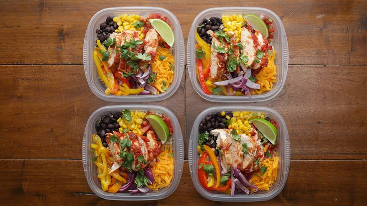 WEEKDAY MEAL-PREP CHICKEN BURRITO BOWLSServes 4-6INGREDIENTS2-3 boneless skinless chicken breasts3 bell peppers, any color, sliced1 large red onion, sliced2 tablespoons olive oil1 tablespoon taco seasoningSalt and pepper1 jar salsa3 cups cooked brown rice, divided1 can black beans, drained and rinsed1 can corn1 cup shredded ch