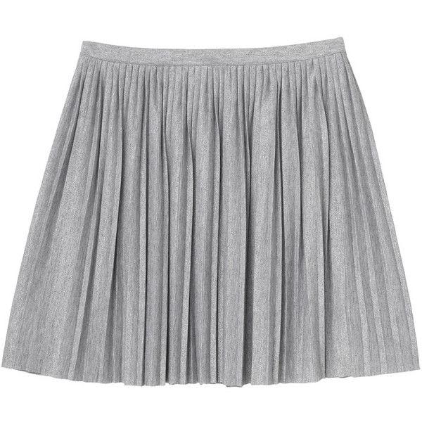 Monki Ella skirt (£7.60) ❤ liked on Polyvore featuring skirts, bottoms, saias, faldas, silvery, preppy skirts, monki and pleated skirt