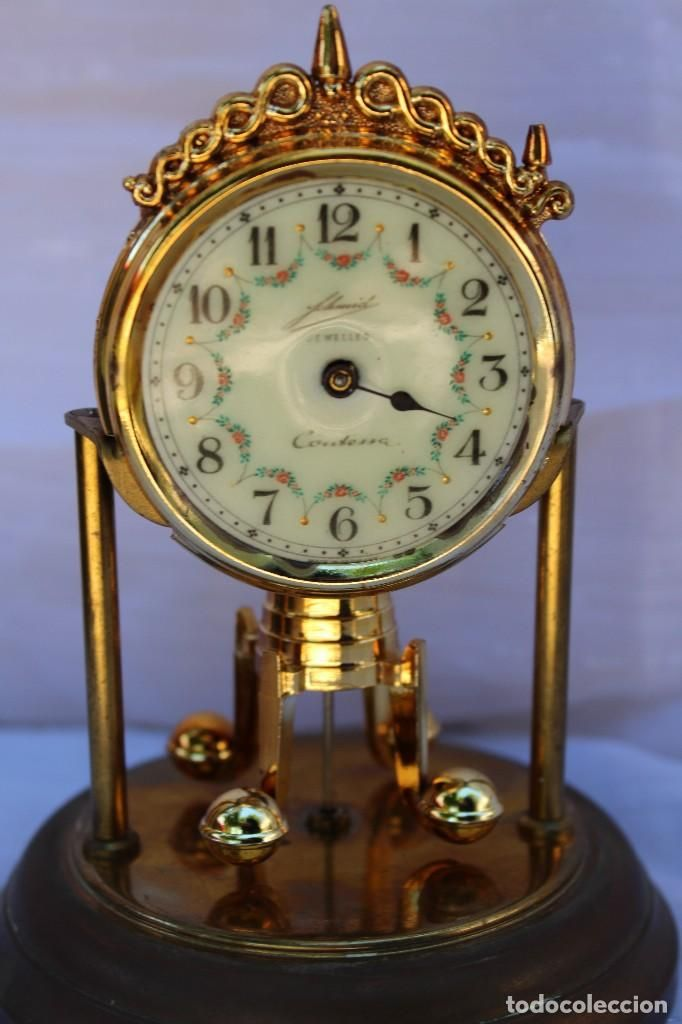 Reloj de sobremesa Contessa casa alemana Schmid en cristal con esfera de porcelana modelo antiguo