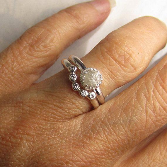 Rohdiamanten Engagement Set weiße roh-Diamant-Ring von artifactum
