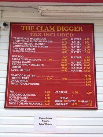 menu from Clam Digger