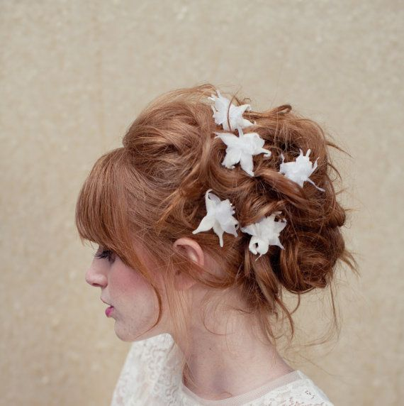 Bridal hair pins, flower hair pins, orchid, vintage hair pin, wedding headpiece, Uma Ships in 1 Month