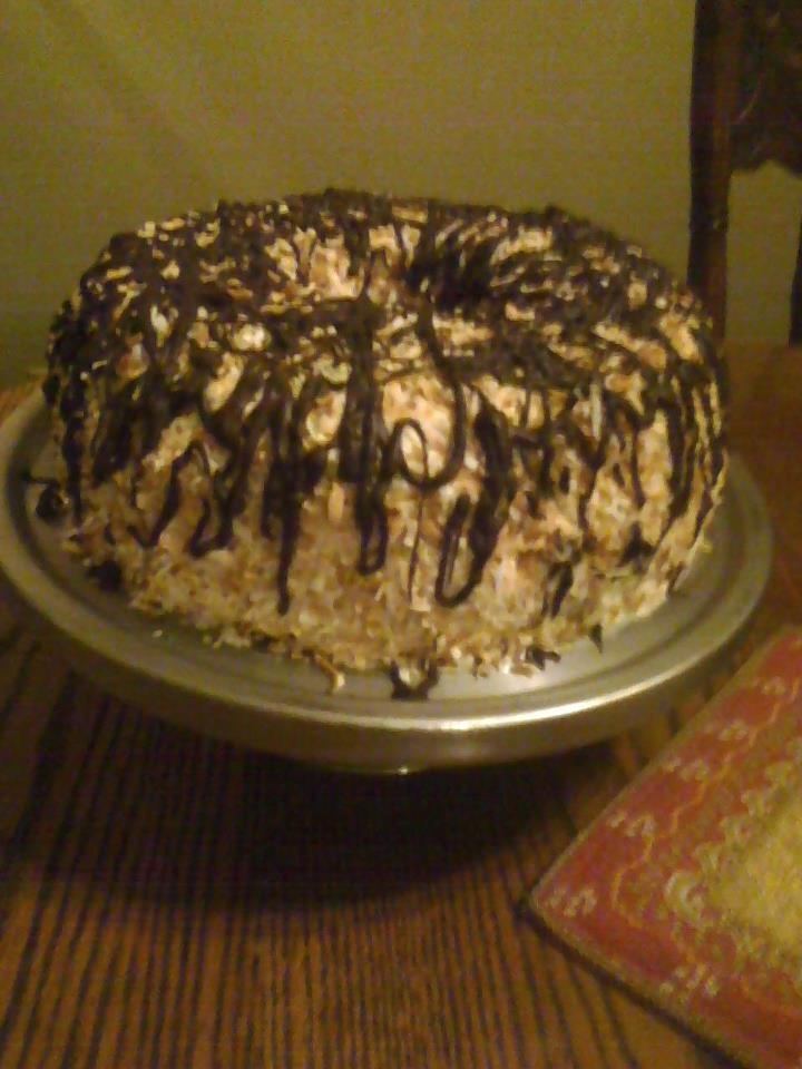 My Samoa Cake.  I said I was gonna make it today.  Haven't tried it yet though.  It's for dessert tomorrow.  It was quite a bit of work.  I sure hope it's as good as it looks.: Samoa Cakes, Cakes Stuff