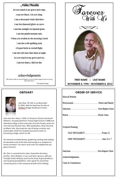 Single Fold Funeral Memorial Program Template For Dad Or Grandfather.  Create A Remembrance Memorial  Free Memorial Template