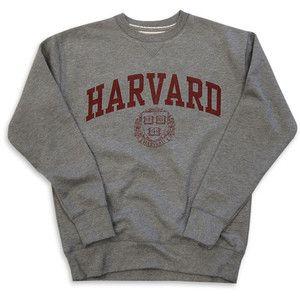 Harvard Sweatshirt Crew Vintage College Heather Grey