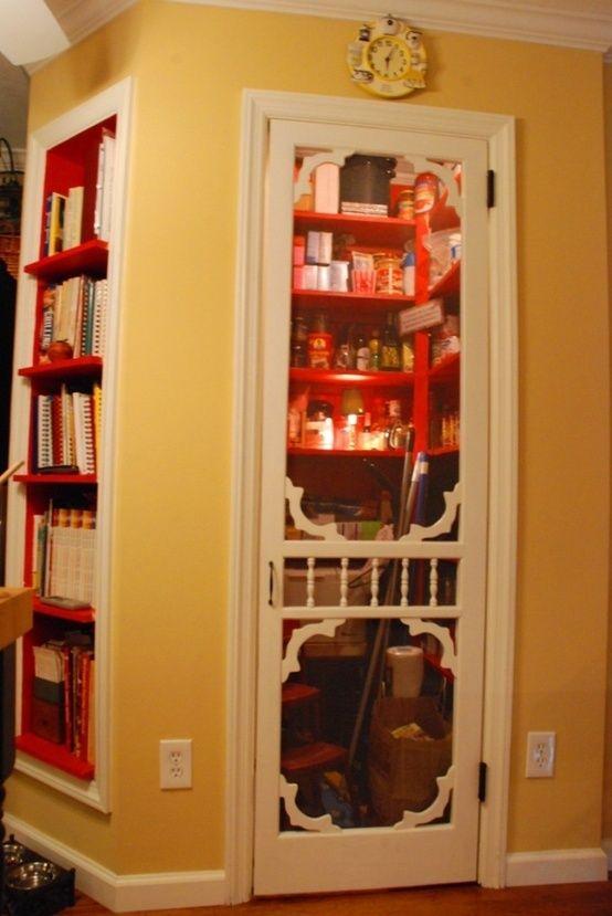 Between studs pantry with screen door and great bookcase for Pantry door ideas