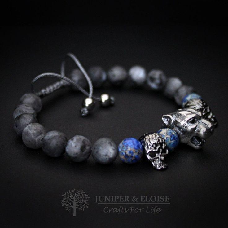 Valentines Day Gift, Lion Bracelet Mens Bracelet, 925 Silver Lion head, Jewelry For Men Women Watch Companion, Matte Beaded Bracelet by JuniperandEloise on Etsy