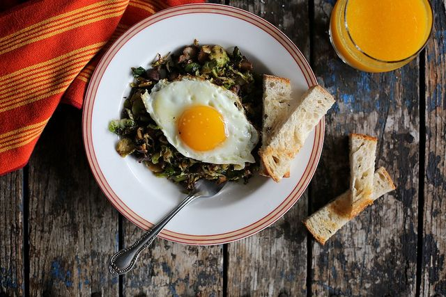 Mushroom and Brussels Sprout Hash