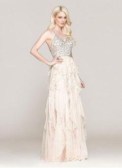 A-Line/Princess Sweetheart Floor-Length Chiffon Prom Dress With Beading Cascading Ruffles