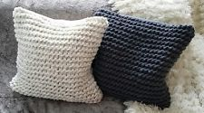 Hand Knitted Grey or Biscuit Chunky Extreme Knit 18 inch square Feather Cushion