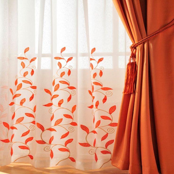 Burnt Orange Kitchen Curtains | Home › Curtains › Voiles › Stunning orange leaf trail rod pocket ...