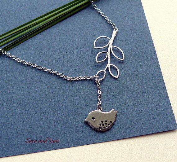 Best Friend Birthday Gift, Silver Bird Branch Necklace, Leaf Bird Branch Necklace, Gift For