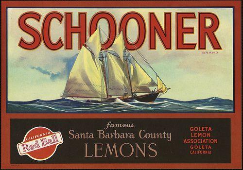 Schooner Brand: Famous Santa Barbara County lemons, Goleta Lemon Association, Goleta, California by Boston Public Library, via Flickr
