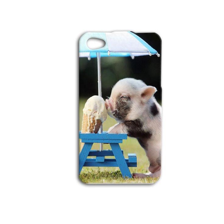 Cute Baby Pig Eating Ice Cream Umbrella Funny iPhone Case ...