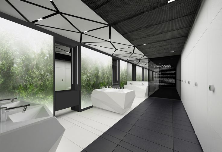 Design of the interior for public toilets and corridors in SC Złote Tarasy, stage 02. #geometric #minimal #zlotetarasy #architecture #design #interiors #art #plants #ceilings