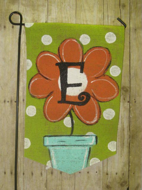 Burlap Yard Flag with Painted Flower and Initial by Burlapulous, $20.00
