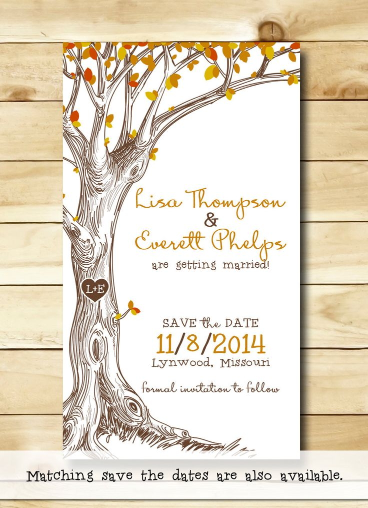 Save the Date Magnets - Autumn Tree with Carved Initals - Set