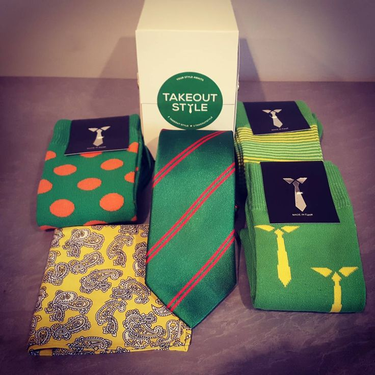 Here's our Green Style Box. This red stripe tie is sharp! The socks are bright and exciting while the yellow paisley pocket square is a twist on a classic. Order today at www.takeoutstyle.com #whichcolourareyou #yourstyleawaits