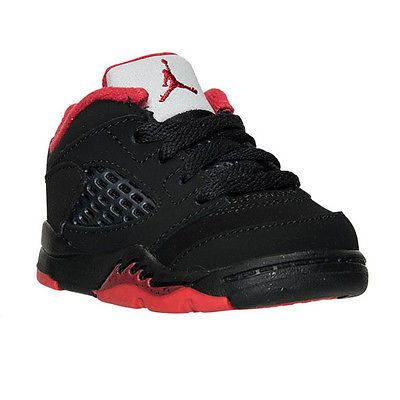 Nike Air Jordan 5 V Retro Low Td Toddler 314340-001 Black Red Shoes Baby Size 4