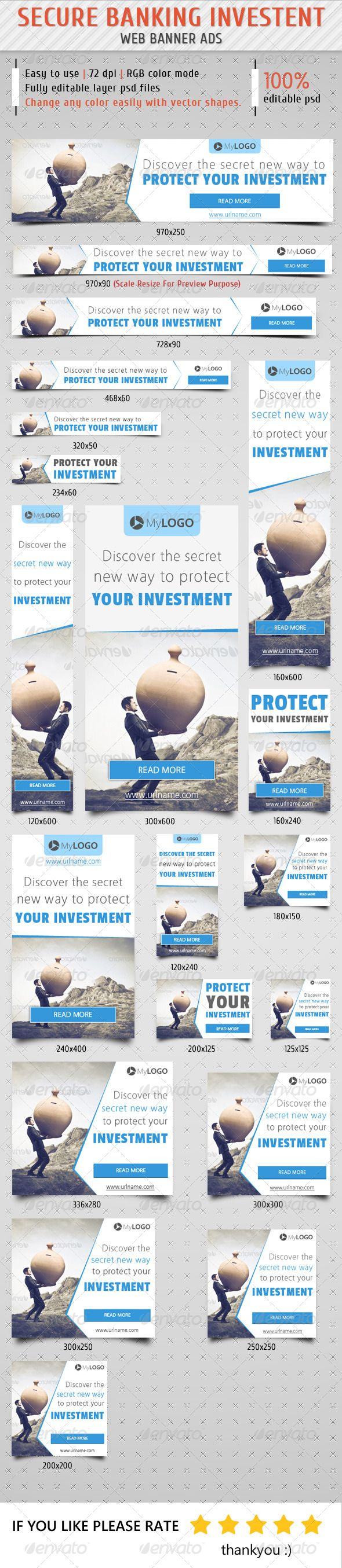 Secure Banking Investment Web Banner Ads Template PSD | Buy and Download: http://graphicriver.net/item/secure-banking-investment-web-banner-ads/8607043?WT.ac=category_thumb&WT.z_author=samiul75&ref=ksioks