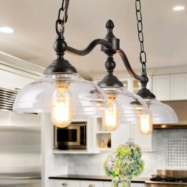 Lnc Barn 38 In 3 Light Black Modern Farmhouse Chandelier Rustic Kitchen Island Pendant Light With Clear Glass Shades A03297 The Home Depot Farmhouse Light Fixtures Dining Room Light Fixtures Kitchen Island