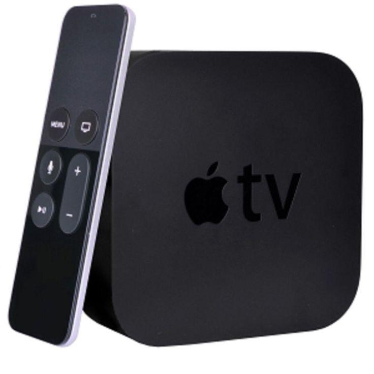 Apple TV (4th Generation) 64GB 1080p HD Multimedia Set-Top Box w-Siri Remote (Black) - B
