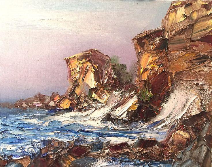 Камен бряг, масло, платно, 50/40 см Stone coast, oil on canvas, 50/40cm