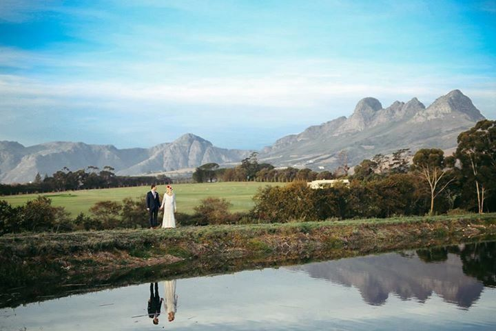 #wineryroadforest  Forest Weddings Wedding venue in Cape Town close to Stellenbosch Water reflection wedding photography. Dam / lake at venue with mountains Ido @ WineryRoadForest