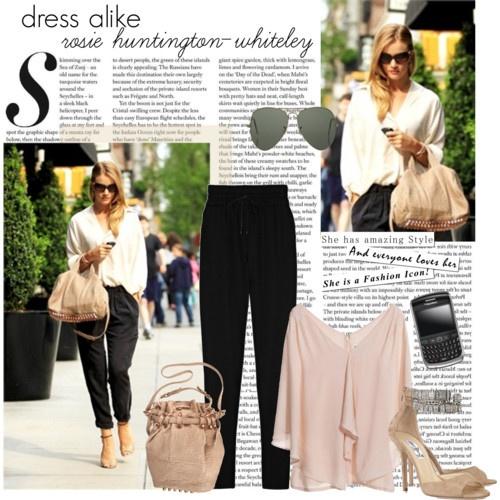 black silk pantsRosie Huntington Whiteley, Outfit Ideas, Dresses Alike, Polyvore Outfit