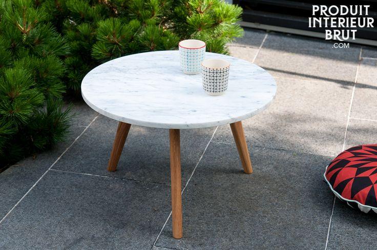 Table basse Briët - design scandinave - Marbre lumineux et taille compacte