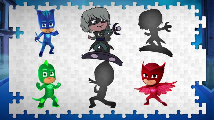 Wrong Puzzle with Pj Masks. Wrong Silhouettes and Learn colors for kids