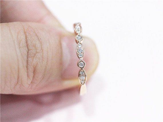 Neue solide 14k Rose Gold Ring Ehering Ring eine halbe Ewigkeit Verlobungsring passende Band