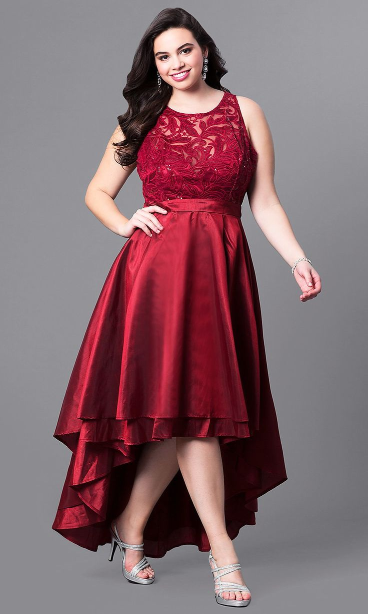 Highlow plussize wedding guest dress with lace plus