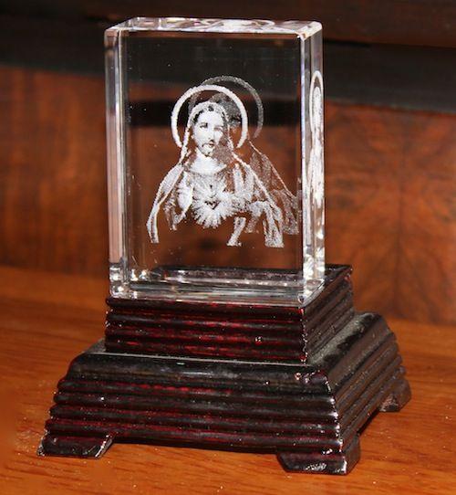 "Crystal block w/laser image of ""The Sacred Heart"" - lighted base sold separately              # RJ-01      $19.95"