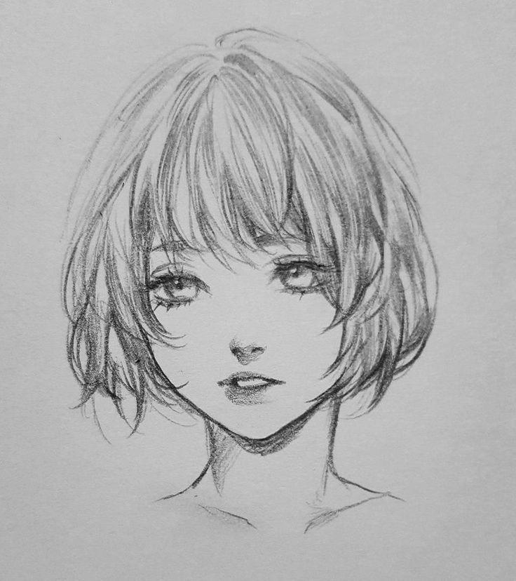 Картинки девушек с челкой карандашом