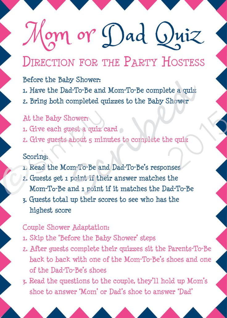 Mom or Dad Trivia makes a fun and easy game for any Baby Shower. This quiz is full of fun questions asking guests and the Parents-To-Be to predict what parenting traits each will have. To make playing easy, the set comes with hostess instructions (which has a fun adaptation for couples showers). This game is great for all baby showers but is especially suited for Boy or Girl Showers and Couples Showers. When you purchase Mom or Dad Trivia you will receive the follow files: - 5 Inch x 7 Inch…