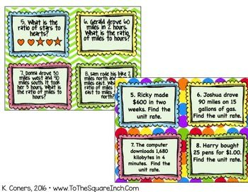 Ratios Task Cards- 6th Grade Math by To the Square Inch- Kate Bing Coners | Teachers Pay Teachers