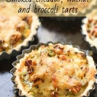 Smoked cheddar, walnut and broccoli tarts