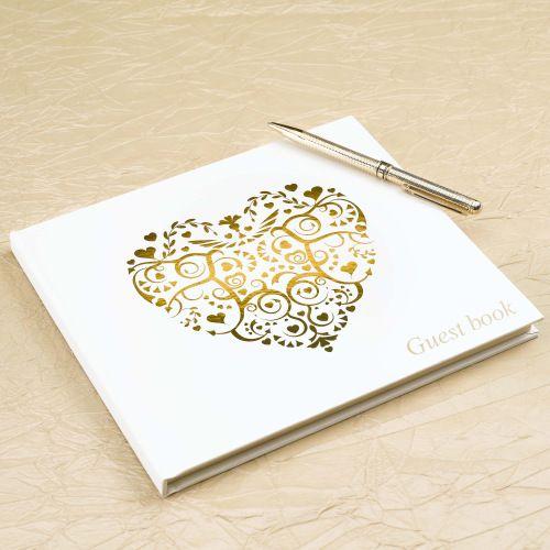 Hoe mooi is dit gastenboek 'Ivory Gold'? Het past perfect bij bruiloften met een romantisch thema! Het boek bevat 35 pagina's die aan beide kanten beschreven kunnen worden.
