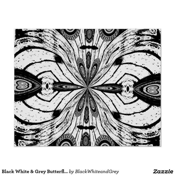 Black White & Grey Butterfly Poster