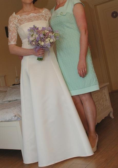 Jednoduché svatební šaty s krajkou - ivory, 36
