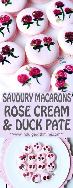 Excite your senses with a Savoury Macaron filled with Rose Buttercream and Duck Pate. Perfectly beautiful canapé for cocktail hour.