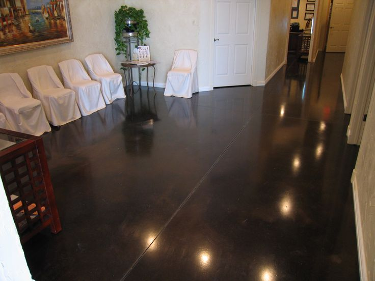 Beautiful dark stained concrete floors if i could afford for Black stains on concrete