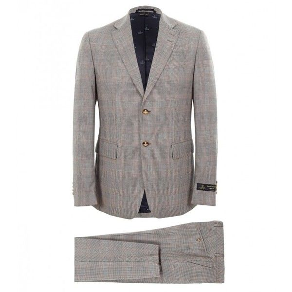 Vivienne Westwood Man Grey Prince of Wales Checkered Wool Suit (1,365 CAD) ❤ liked on Polyvore featuring men's fashion, men's clothing, men's suits, mens grey suit, mens wool suits, mens gray suit, slim fit mens clothing and mens slim suits