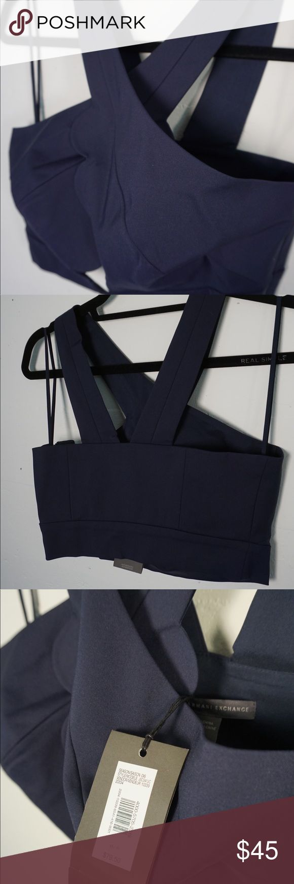 Armani Exchange Crop Top Cross cross neck in a beautiful navy color.. Perfect with a pair of high waisted slacks for a chic head to toe look. Side zipper. Armani Exchange Tops Crop Tops