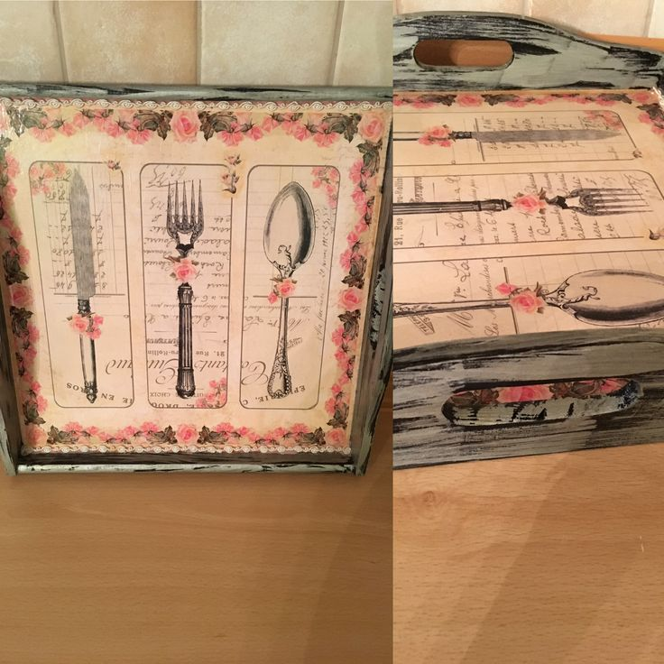 Tray with decoupage and aging