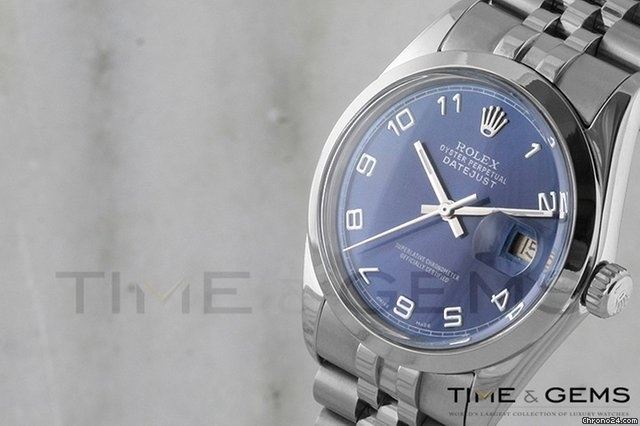 Rolex Stainless Steel Blue Arabic Dial Smooth Bezel Jubilee Band Datejust