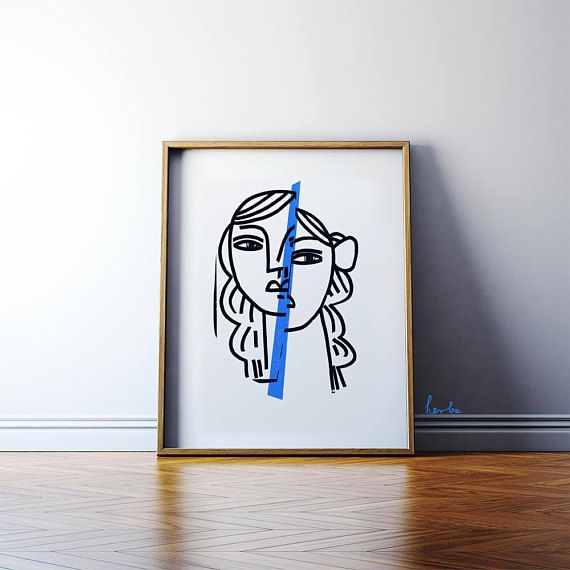 Persona by Gosia Herba. Archival print of my original linocut. 48x60cm.  https://www.etsy.com/uk/listing/512159034/portrait-in-the-mirror-persona-modern