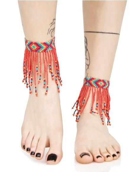 Colored Rain Beaded Ankle Wraps paint yer world with color, bb! These ankle wraps feature a colorful rainbow beaded construction with a diamond arrow pattern and beaded fringe hangin' down around yer ankle.