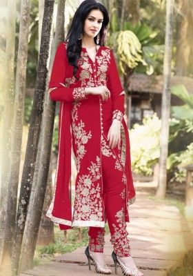 Red Color Georgette Straight Cut Suit